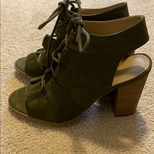 Army Green Suede lace up peep toe bootie